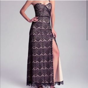 Bebe black and cream strapless overlay lace gown
